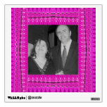Bright pink abstract pattern photo frames room decal