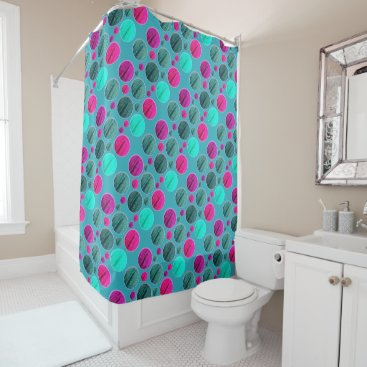 Beach Themed Bright Pink And Aqua Dots Shower Curtain