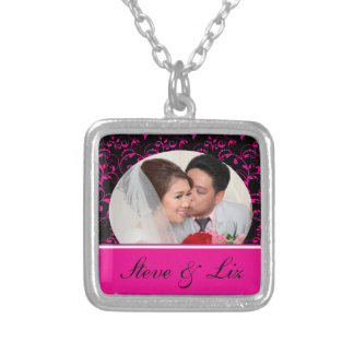 Bright Pink and Black Bride & Groom Square Pendant Necklace
