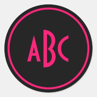 Bright Pink and Black Circle Monogram Round Stickers