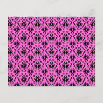 Bright Pink and Black Damask pattern.