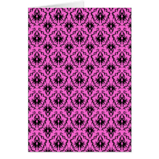 Bright Pink and Black Damask pattern. Stationery Note Card