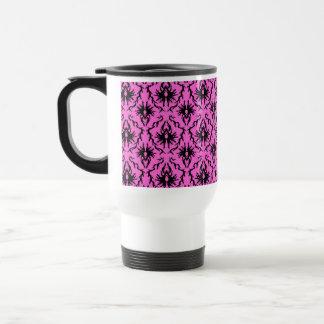 Bright Pink and Black Damask pattern. Coffee Mugs
