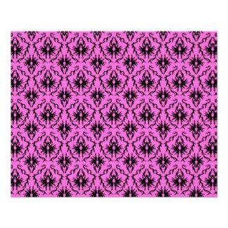 Bright Pink and Black Damask pattern. Flyer