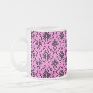 Bright Pink and Black Damask pattern. Frosted Glass Coffee Mug
