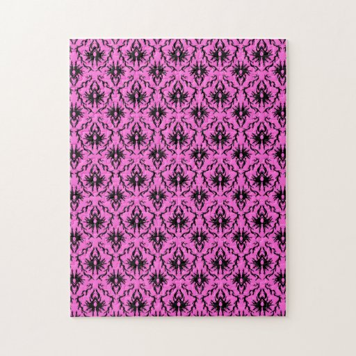 Bright Pink and Black Damask pattern. Jigsaw Puzzle