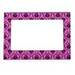 Bright Pink and Black Damask pattern. Photo Frame Magnet
