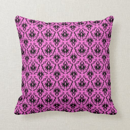 Bright Pink and Black Damask pattern. Throw Pillows