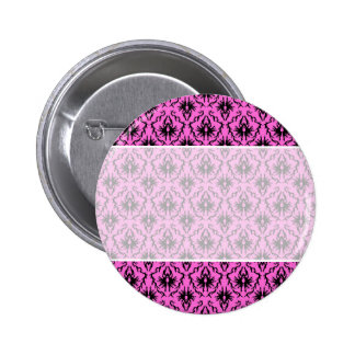 Bright Pink and Black Damask pattern. Pinback Button