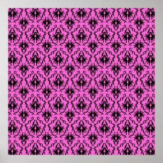 Bright Pink and Black Damask pattern. Print