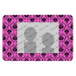 Bright Pink and Black Damask pattern. Rectangle Magnet