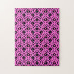 Bright Pink and Black Damask pattern. Puzzles