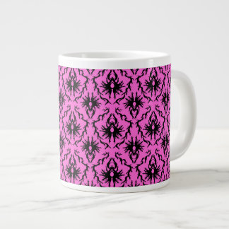 Bright Pink and Black Damask pattern. Extra Large Mugs