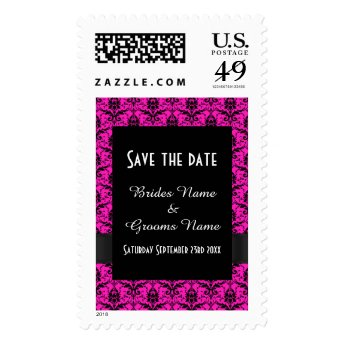 Bright pink and black damask save the date postage stamps