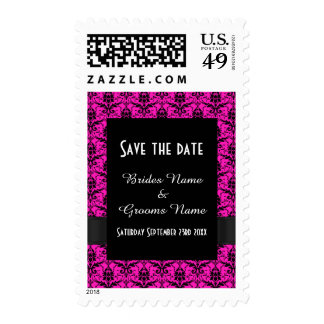 Bright pink and black damask save the date postage stamp