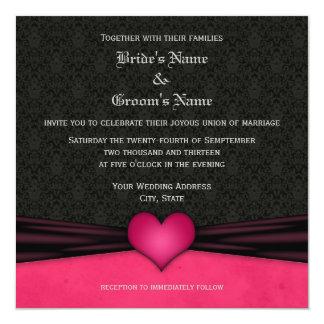 Bright Pink and Black Damask Wedding Invitations