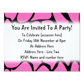 Bright Pink and Black Giraffe Print Pattern. 4.25x5.5 Paper Invitation Card