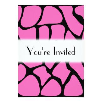 Bright Pink and Black Giraffe Print Pattern. 5x7 Paper Invitation Card