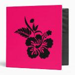 Bright Pink and Black Hawaiian Flowers Vinyl Binders