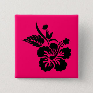 Bright Pink and Black Hawaiian Flowers Button