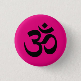 Bright Pink and Black Om Symbol Pinback Button