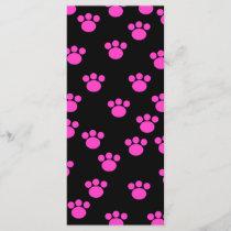 Bright Pink and Black Paw Print Pattern.