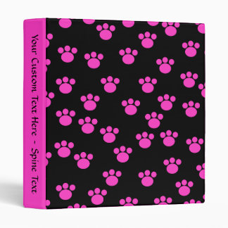 Bright Pink and Black Paw Print Pattern. 3 Ring Binder