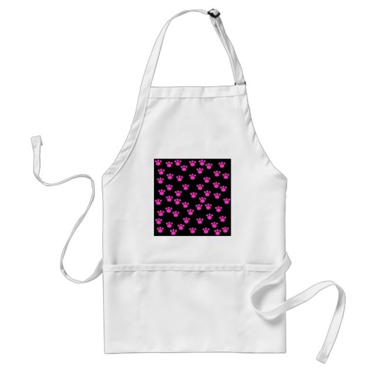 Bright Pink and Black Paw Print Pattern. Adult Apron