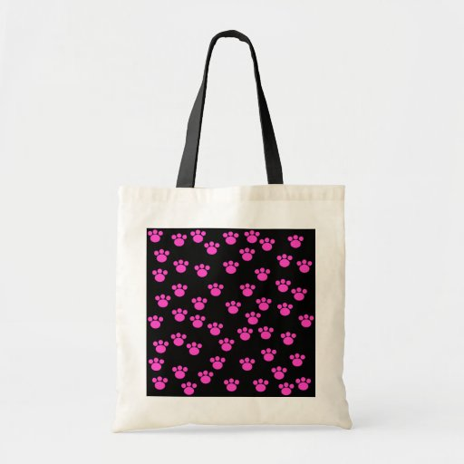 Bright Pink and Black Paw Print Pattern. Bag