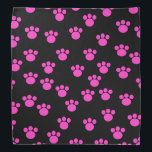 """Bright Pink and Black Paw Print Pattern. Bandana<br><div class=""""desc"""">Bright Pink paw print pattern on a black background.</div>"""