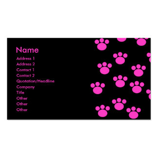 Bright Pink and Black Paw Print Pattern Business Card
