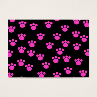 Bright Pink and Black Paw Print Pattern. Business Card