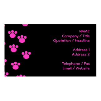 Bright Pink and Black Paw Print Pattern. Business Card Template