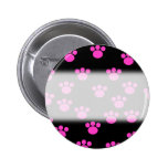 Bright Pink and Black Paw Print Pattern. Buttons