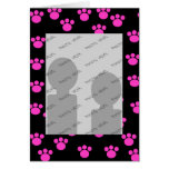 Bright Pink and Black Paw Print Pattern. Greeting Card
