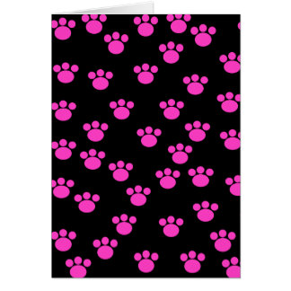 Bright Pink and Black Paw Print Pattern. Card