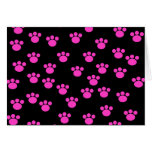 Bright Pink and Black Paw Print Pattern. Cards