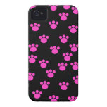 Bright Pink and Black Paw Print Pattern. iPhone 4 Case