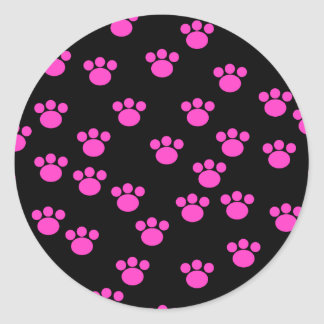 Bright Pink and Black Paw Print Pattern. Classic Round Sticker