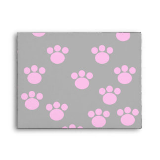 Bright Pink and Black Paw Print Pattern. Envelopes
