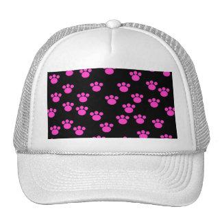 Bright Pink and Black Paw Print Pattern. Mesh Hats