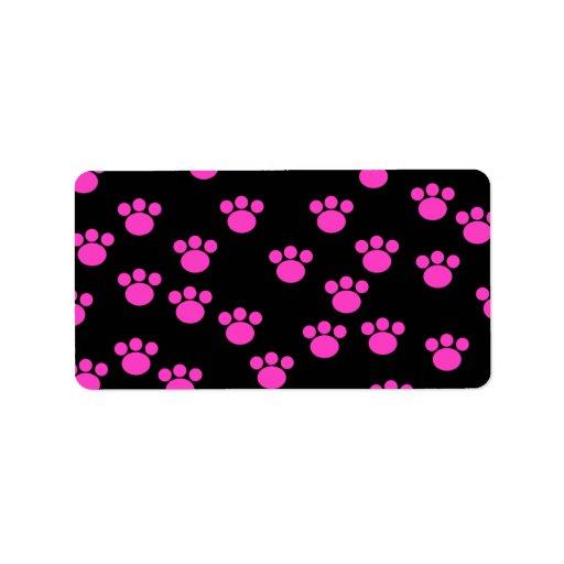 Bright Pink and Black Paw Print Pattern. Custom Address Labels