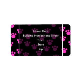 Bright Pink and Black Paw Print Pattern. Label