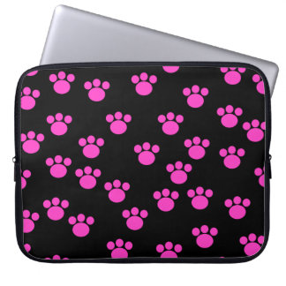 Bright Pink and Black Paw Print Pattern. Laptop Computer Sleeve
