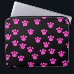 "Bright Pink and Black Paw Print Pattern. Laptop Sleeve<br><div class=""desc"">Bright Pink paw print pattern on a black background.</div>"