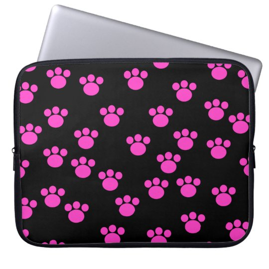 Bright Pink and Black Paw Print Pattern. Laptop Sleeve
