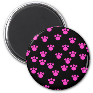 Bright Pink and Black Paw Print Pattern. Magnet