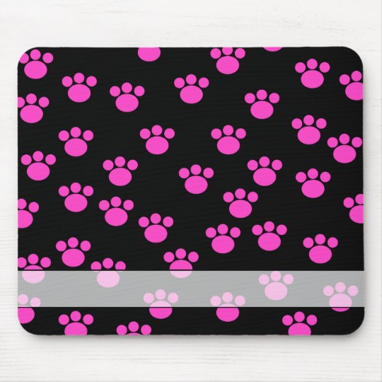 Bright Pink and Black Paw Print Pattern. Mouse Pad