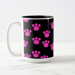 Bright Pink and Black Paw Print Pattern. Mugs