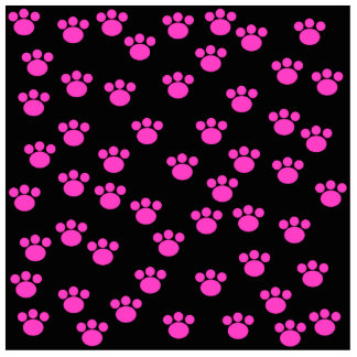 Bright Pink and Black Paw Print Pattern. Cut Outs